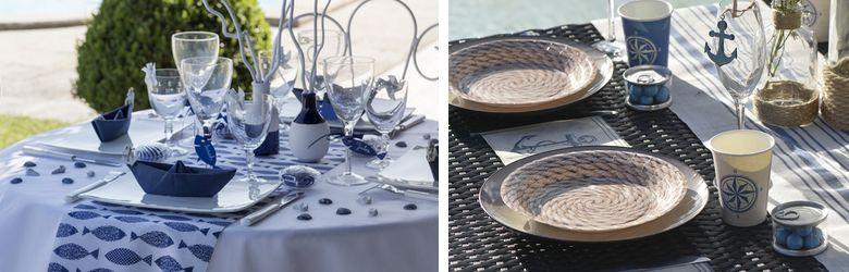 Déco de table fêtes de famille thème mer