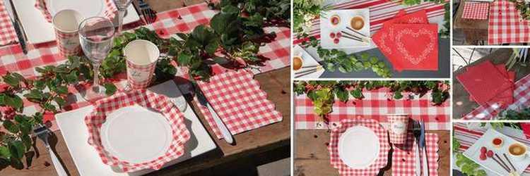 Décoration de table style campagnard, vichy rouge