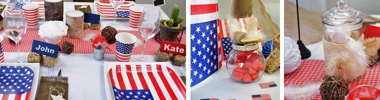 Une décoration  de table originalle sur le thème country et USA.