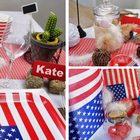 Deco table ambiance country, amerique, mini botte de paille, gobelets, serviettes