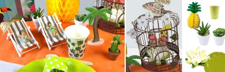 Figurines et accessoires pour une décoration de table exotique et colorée.