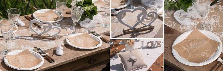 Tout pour réaliser une décoration de table mariage nature feuillage kraft  et blanc