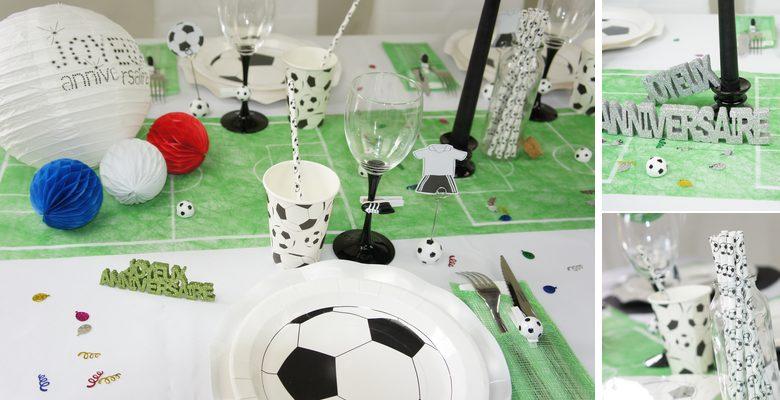 Deco de table anniversaire pour fan de foot en bleu, blanc,rouge