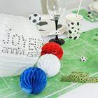 Déco de table anniversaire thème foot, chemin de table, assiettes, gobelets.