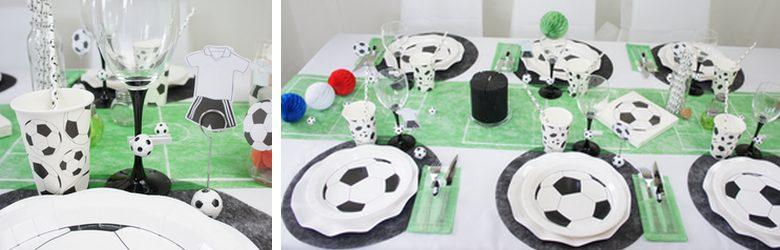 decoration de table pour une soirée foot.