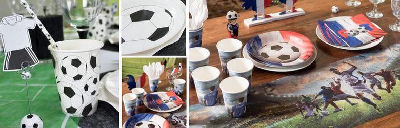 Tout pour une décoration de table de fêtes thème foot et champions foot tricolore