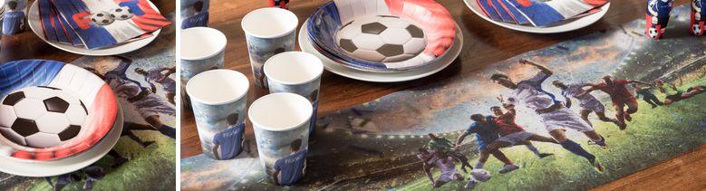 Déco de table fête entre amis Champions foot tricolore