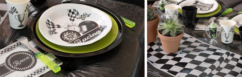 Décoration table de fêtes pour amateur de course automobile.