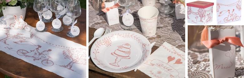 Une idée pour votre décoration de table mariage guinguette tandem.