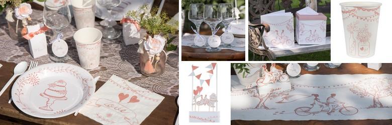 Vaisselle jetable et accessoires de déco de table thème guinguette