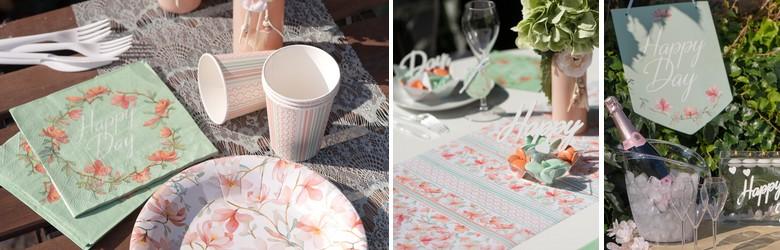 Déco de table entre amis Happy Day fleurs et géométrie
