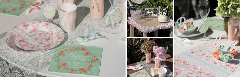 Une belle table de fêtes avec fleurs et décor géométrique Happy days