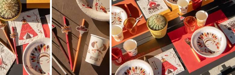 Décoration de table anniversaire thême cow-boy et indien.