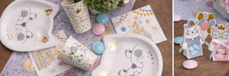 Vaisselle jetable et articles de décoration de table thème Kitty le chat