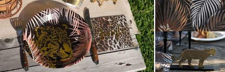 Déco de table de fêtes thème jungle léopard