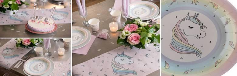 Décor de table d'anniversaire thème licorne