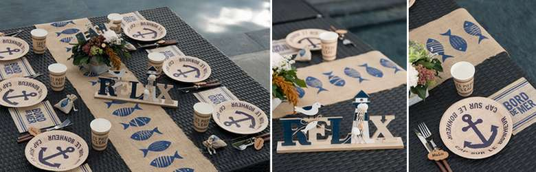 Déco de table fêtes de famille thème mer au naturel