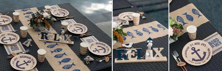Vaisselle jetable et objets de décoration de table thème mer au naturel