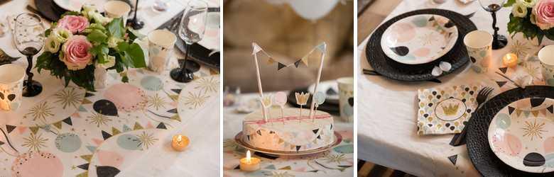 Un décor de paillettes pastel et or pour une table de mariage originale.