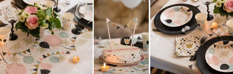 Sélection d'articles pour une déco de table de fêtes ambiance Paillettes pastel