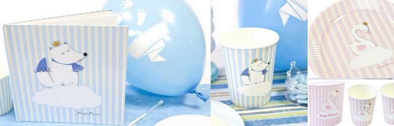 Vaisselle jetable décor petit renard bleu
