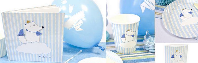 Idée de décoration de table baptème petit garçon thème petit renard bleu.