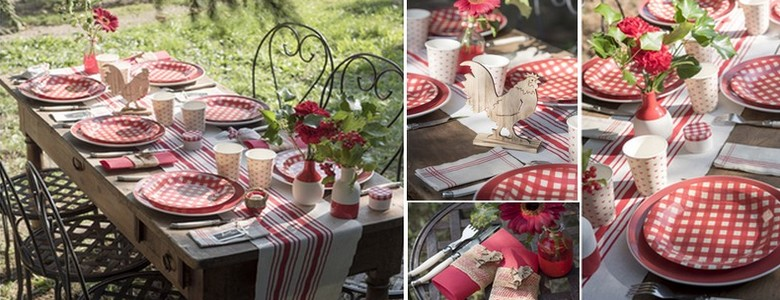 Déco de table fêtes de famille ambiance bistrot, vichy rouge
