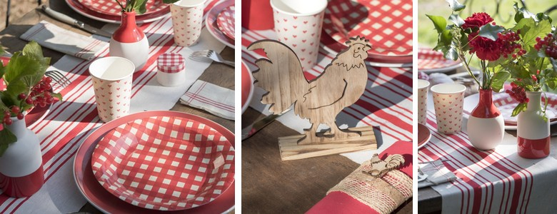 Une idée de déco table de fêtes ambiance vichy et bistrot rouge et blanc