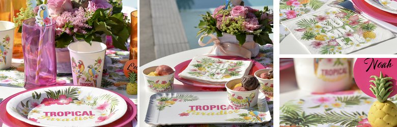 une décoration de table thème tropical multicolor