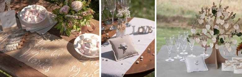 Vive les mariés décoration campagne