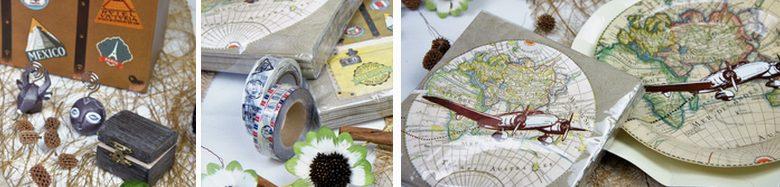 Idées déco de table de fêtes sur le thème du voyage.