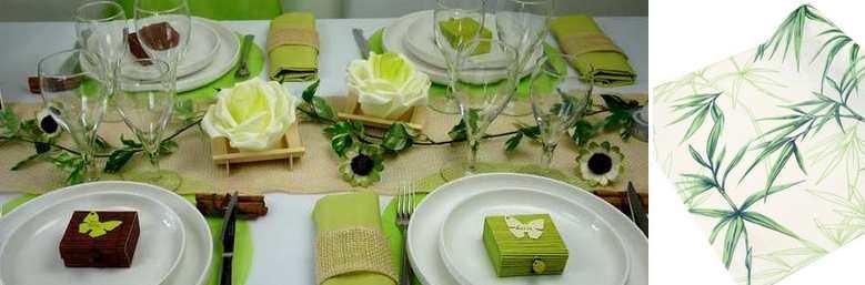 Idees de decoration de table de fêtes ambiance zen, vert anis.