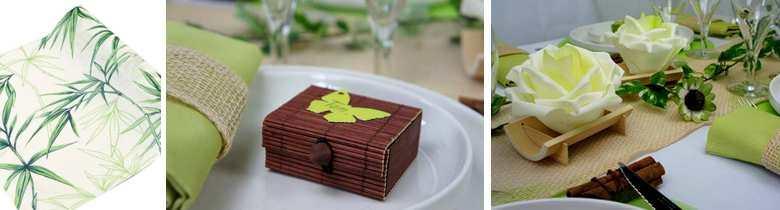 Tete de boudha, mini coffre et fleur pour deco de table.