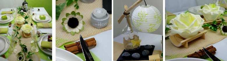 décoration de table mariage,anniversaire, zen, nature en vert anis.