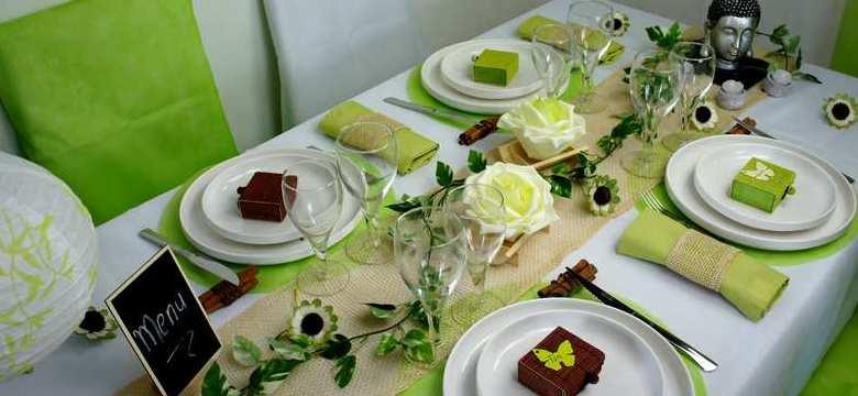 Idée de decoration de table mariage, anniversaire, zen et nature vert anis.
