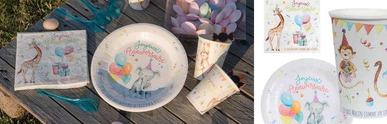 Décoration de table anniversaire enfants thème zoo animaux.