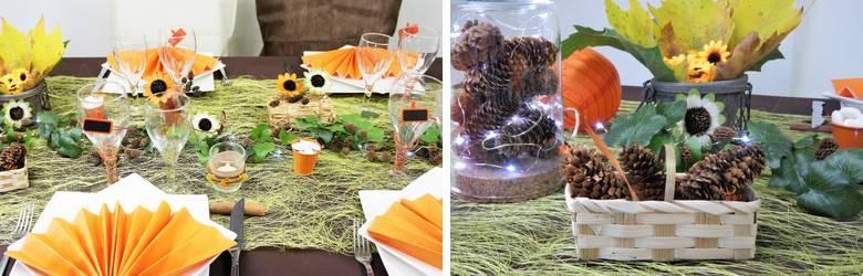 Large choix d'articles pour réaliser une décoration de table couleurs d'automne.