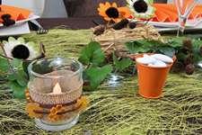 Photophore, bougie led et mini seau orange | 1001 deco table