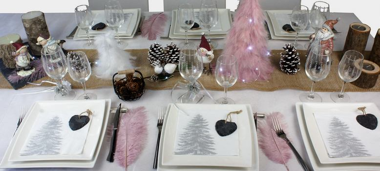 decoration de table de noel theme nature et rose | 1001 deco table