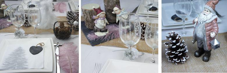 deco de table noel et nouvel an rose et nature.