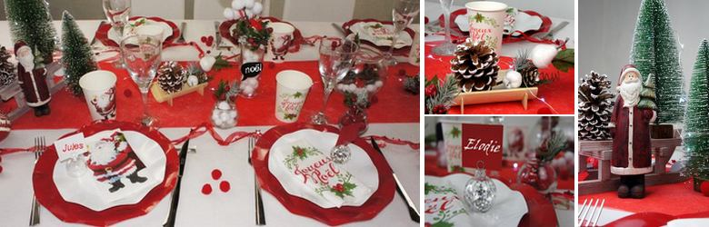 deco de table de noel en rouge et blanc | 1001 deco table