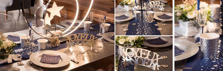 D co de table du r veillon tendance bleu marine et argent - Deco table noel bleu argent ...