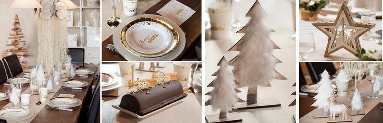 Achat vente d corations de table de f tes blanc et or - Deco table noel argent et blanc ...
