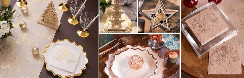 Déco table de fêtes décor feuillage Gingko blanc et or