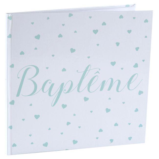 Livre D Or Bapteme Garcon Blanc Et Menthe