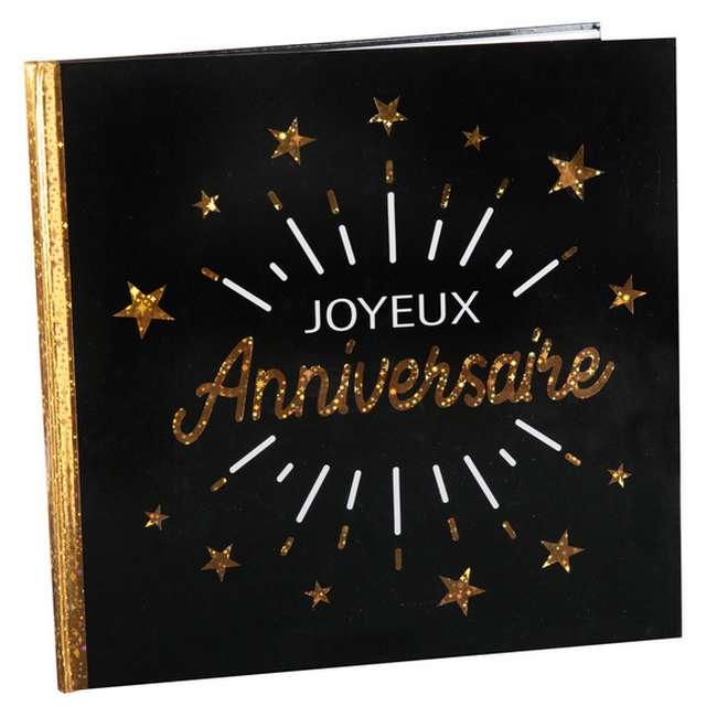 Livre Dor Joyeux Anniversaire Noir Et Or Métallisé
