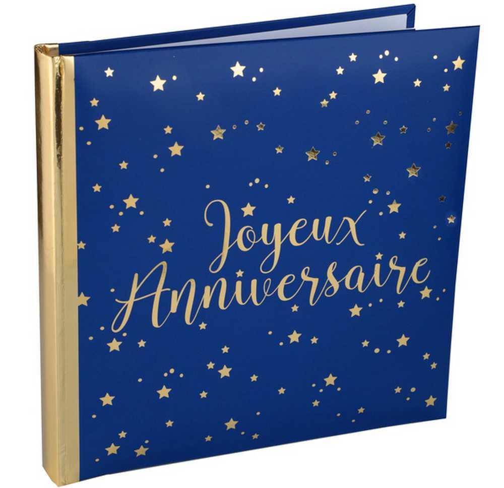 Livre D Or Joyeux Anniversaire Bleu Marine Et Or