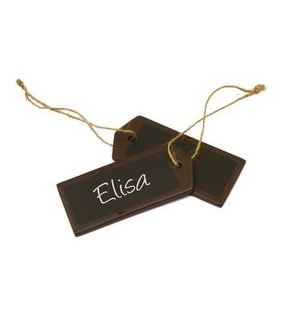 Vente marque place porte nom tiquette en bois chocolat et ardoise x4 marques - Vente de chocolat porte a porte ...