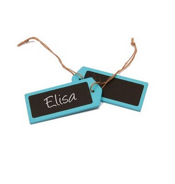 marque place porte nom tiquette en bois turquoise et ardoise x4 1001 d co table. Black Bedroom Furniture Sets. Home Design Ideas