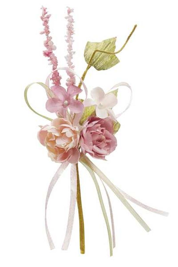 mini bouquet de fleurs tissu bois de rose 15cm 1001 d co table. Black Bedroom Furniture Sets. Home Design Ideas